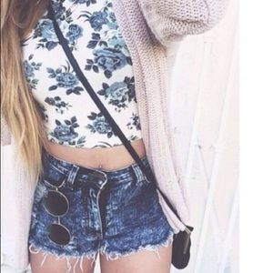 Navy Sleeveless Floral Print Cut-out Crop Top